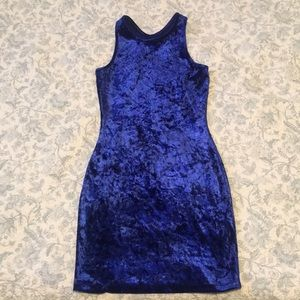 Blue Velvet Bodycon Dress